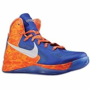 Nike Hyperfuse Men Blue Orange Basketball Sneakers